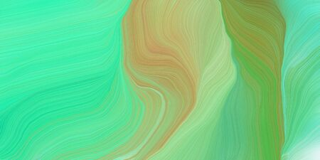curved motion speed lines background or backdrop with medium aqua marine, dark khaki and moderate green colors. good for design texture. Standard-Bild - 133418564