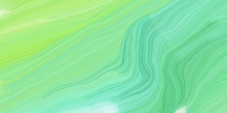 curved lines background or backdrop with light green, tea green and pale turquoise colors. good as graphic element. Standard-Bild - 133418569