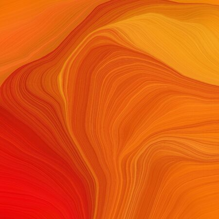 square graphic illustration with coffee, strong red and golden rod colors. abstract fractal swirl motion waves. can be used as wallpaper, background graphic or texture.