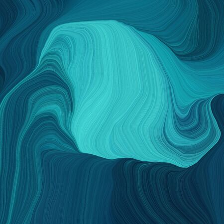 quadratic graphic illustration with teal green, medium turquoise and dark cyan colors. abstract fractal swirl motion waves. can be used as wallpaper, background graphic or texture. Standard-Bild - 133418571