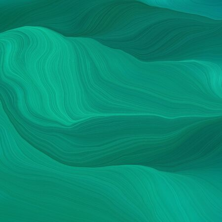 square graphic illustration with teal, dark cyan and teal green colors. abstract design swirl waves. can be used as wallpaper, background graphic or texture. Фото со стока