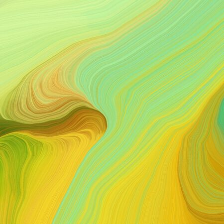 square graphic illustration with dark khaki, golden rod and pale green colors. abstract design swirl waves. can be used as wallpaper, background graphic or texture. Standard-Bild - 133476898