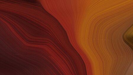simple elegant smooth swirl waves background illustration with saddle brown, very dark pink and sienna color. Standard-Bild