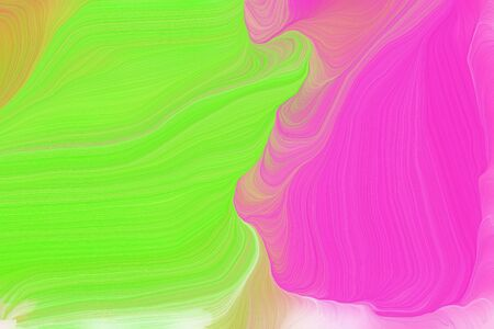 bright colors modern curvy waves background design with neon fuchsia, yellow green and pale violet red color. Banco de Imagens