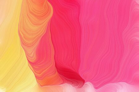 bright colors modern soft curvy waves background design with pastel red, khaki and salmon color.
