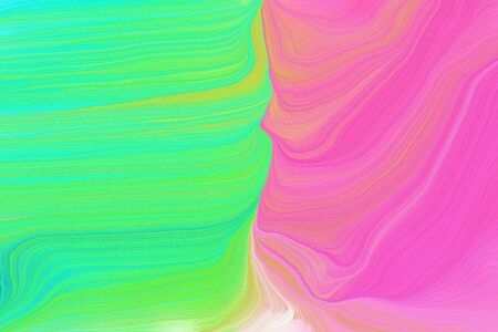 vibrant colors modern waves background illustration with turquoise, hot pink and pastel green color. Standard-Bild