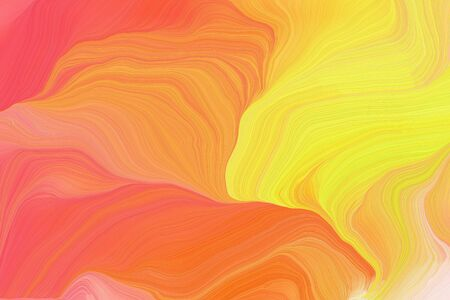 bright colors modern soft curvy waves background illustration with coral, pastel orange and peach puff color. Standard-Bild