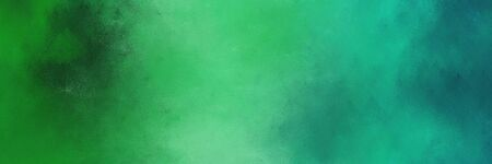 horizontal colorful grungy painting background graphic with medium sea green, forest green and teal green colors and space for text or image. can be used as header or banner.