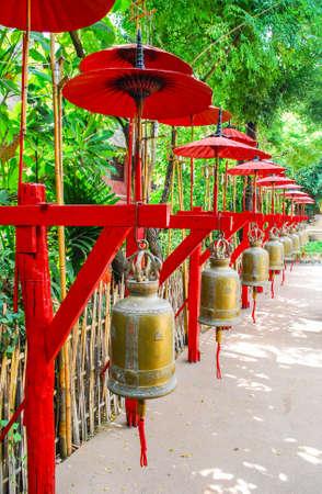 umbella: Line of Golden Bell and Red Umbrella