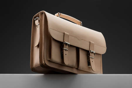 designer bag: Elegant handbag on a gray background