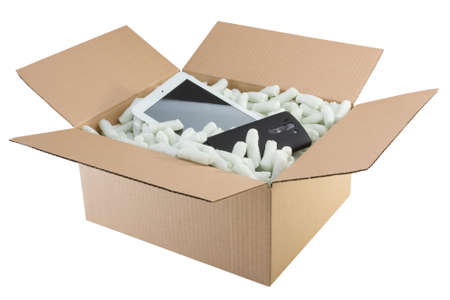 foam safe: Box filled with safety foam with smartphone and tablet Stock Photo