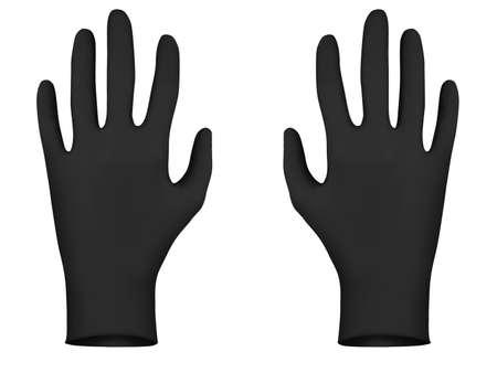 coroner: Black rubber gloves, 3D render