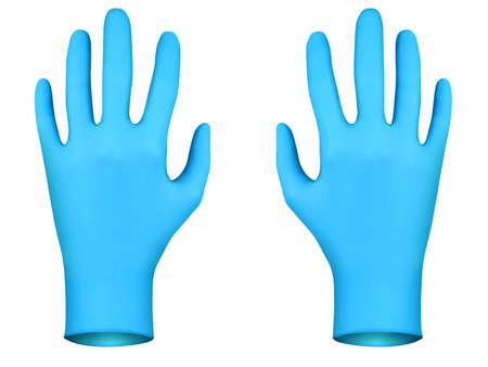 coroner: Blue rubber gloves, 3D render Stock Photo
