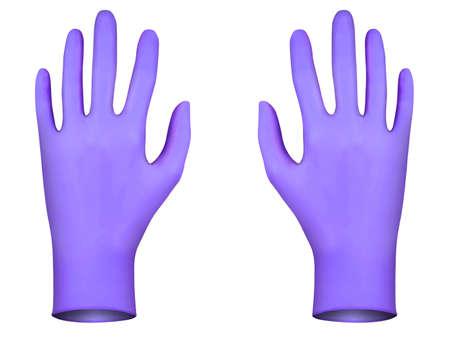 coroner: Violet rubber gloves, 3D render Stock Photo
