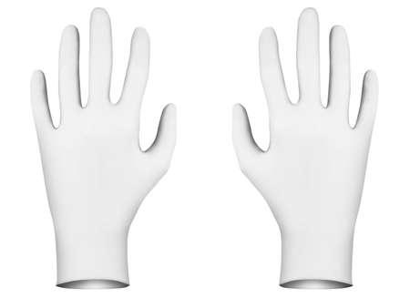 coroner: White rubber gloves, 3d render