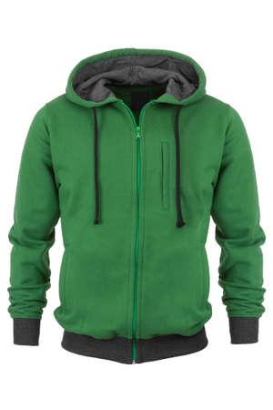 sudadera: Green sweatshirt on white background