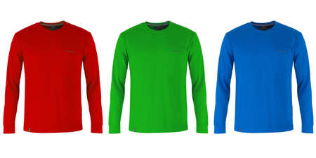 sleeve: Red, green and blue long sleeve t-shirts Stock Photo