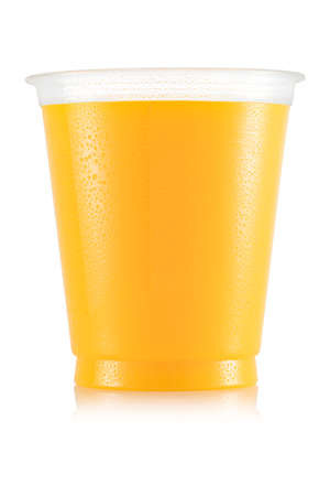 Orange juice in plastic cup
