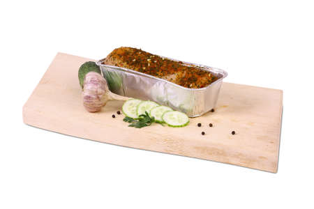 good cholesterol: Baked meat on wooden plate with spices
