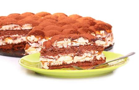 plato del buen comer: Tiramisu, served on plate, on white background