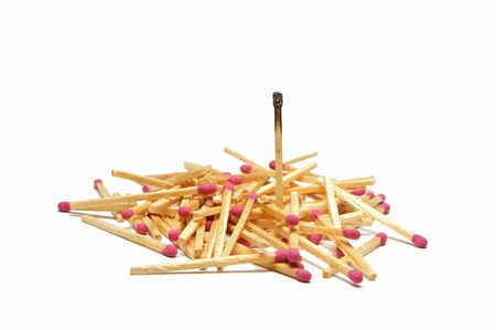 obscure: Pile of matches with one standout