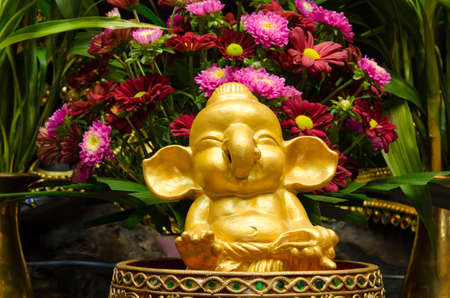 ashram: Ganesha statue inside ashram at thailand Stock Photo