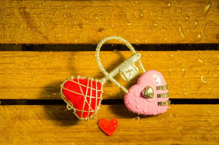 Red heart key and pink master key   photo