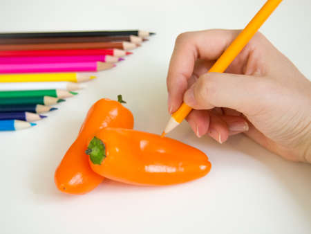 colored pencil: looks like drawing papricas with the colored pencil