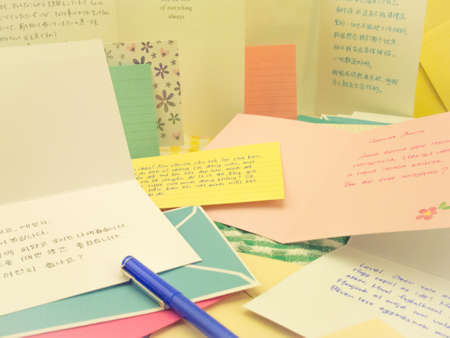 multilingual: The letters from the friends in different countries. Stock Photo