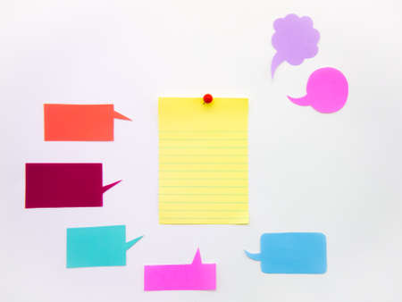 postit: Colorful balloons and bubbles; you can write words on it. Stock Photo
