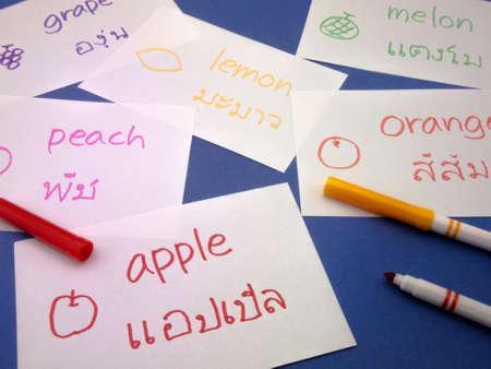 fundamental: Making language flash cards for fundamental words; apple, lemon, peach, melon, grape and orange. Stock Photo