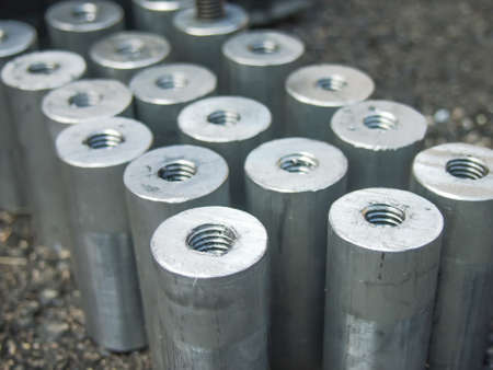 bolts and nuts: Many hardwares such as bolts, nuts and screws at the construction site. Stock Photo