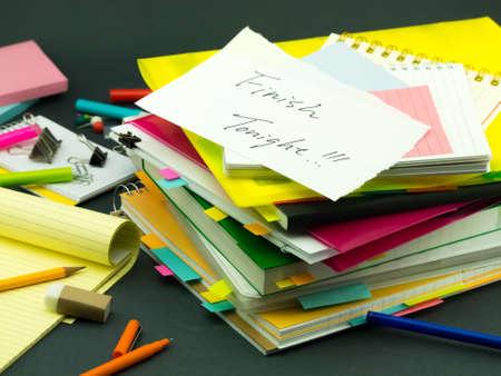 tonight: The Pile of Business Documents; Finish Tonight Stock Photo