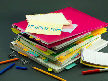 negotiation business: The Pile of Business Documents; Negotiation