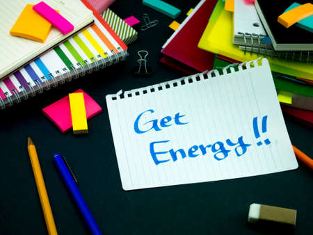 somebody: Somebody Left the Message on Your Working Desk; Get Energy Stock Photo