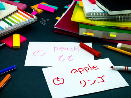 Learning New Language Making Original Flash Cards; Japanese Reklamní fotografie