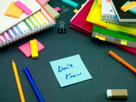 somebody: Somebody Left the Message on Your Working Desk; Dont Know Stock Photo