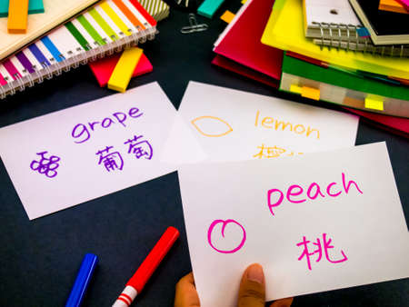 Learning New Language Making Original Flash Cards; Mandarin Stock Photo