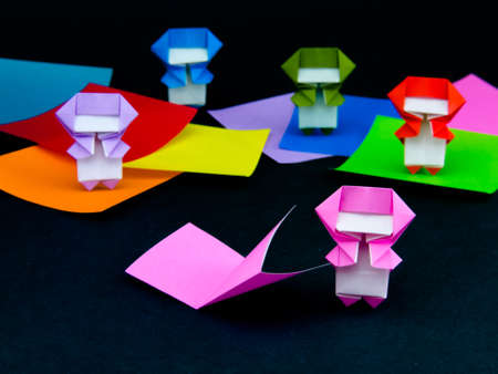 Japanese Origami Toys Folding Instructions How To Play Stock Photo