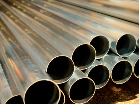 steel: Stack of Many Pipes at the Construction Site