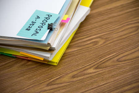 proposals: Proposal; The Pile of Business Documents on the Desk Stock Photo