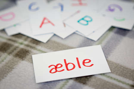 Danish; Learning the New Word with the Alphabet Cards (Translation; Apple)