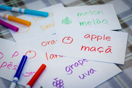 Portuguese; Learning New Language with Fruits Name Flash Cards