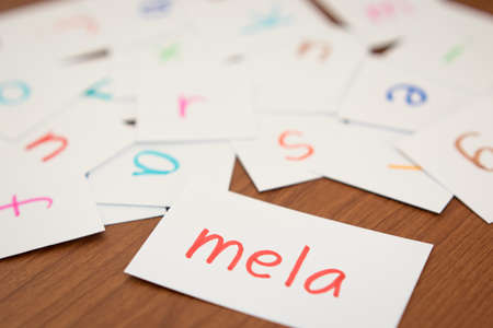 Italian; Learning the New Word with the Alphabet Cards (Translation; Apple)