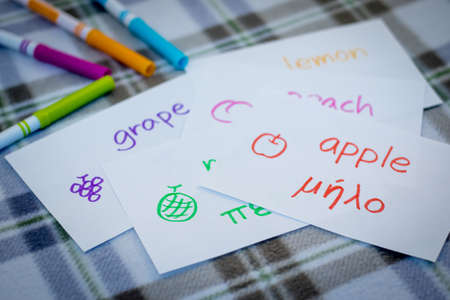 Greek; Learning New Language with Fruits Name Flash Cards