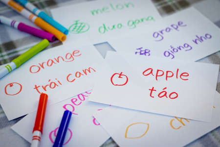 Vietnamese; Learning New Language with Fruits Name Flash Cards Stock Photo