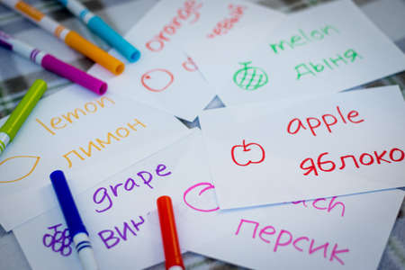Russian; Learning New Language with Fruits Name Flash Cards