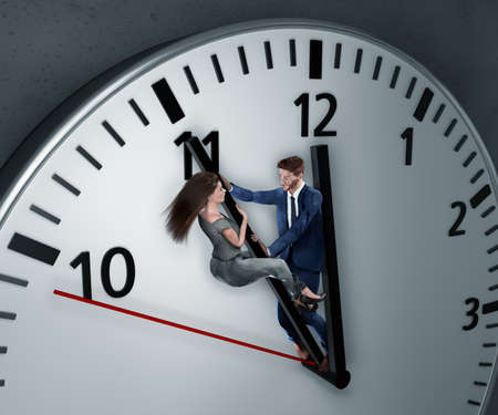 Woman and man are fighting for more time. Employees braces desperately against the clock to give themselves more time to keep the deadline 免版税图像