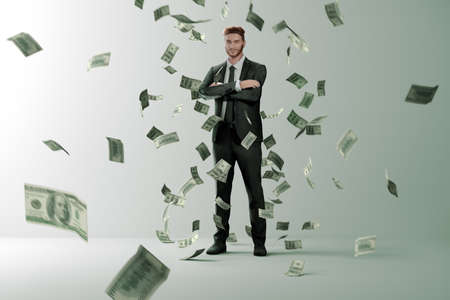 Money rain on successful man. Successful man in suit is surrounded by flying bills