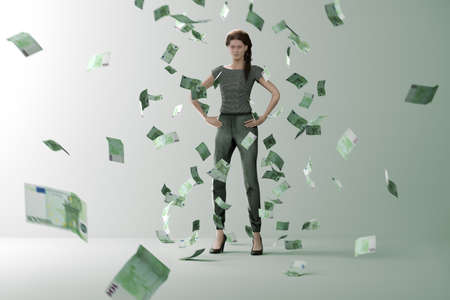 Money rain on successful woman. Successful woman is surrounded by flying bills